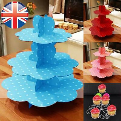*UK Seller* 1~3X EXTRA LARGE Polka Dots Cupcake Stand Cardboard Holds 36 Cakes