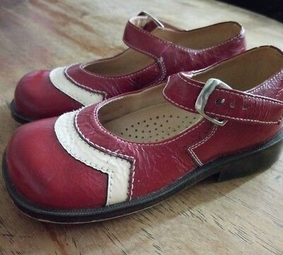 Vintage style COTOLINO size 1 child shoe Mary Jane red white super cute
