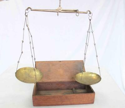 Vintage or Antique Balance Scales (Brass?) in Wooden Box #14111