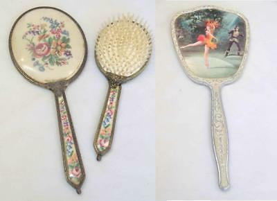 Vanity Set - a Hair Brush and 2 Hand Mirrors #14109
