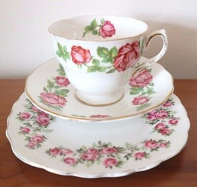ROYAL VALE CHINA TRIO Pink Roses CUP SAUCER & TEA PLATE TEA SET