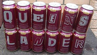 XXXX Bitter Beer Cans Queenslander Set of 12 Cans are all Bottom Opened Limited