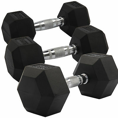 2X 8-15KG Rubber Encased Dumbbell Hex Weights Gym Fitness/Workout/Weight Lifting