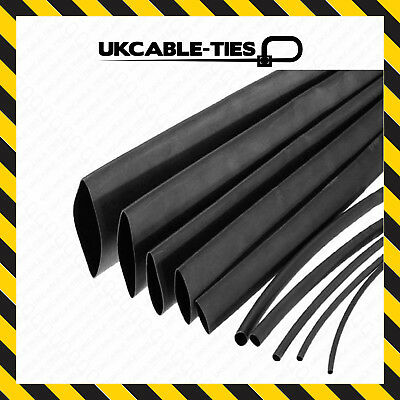 Black Heat Shrink Tubing 2:1 & 3:1 Tube Sleeving Car Wire Wrap Heatshrink