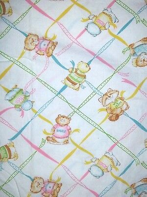 Vintage DUNDEE Baby Crib Fitted Sheet 1980 Critters W Ribbons Hallmark Cards EUC