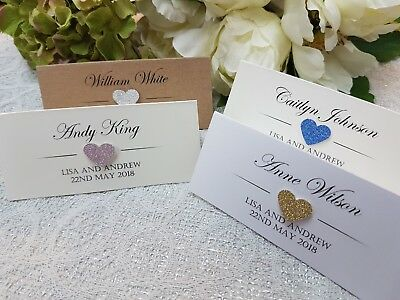 Personalised Glitter Wedding Name Cards Place Cards white ivory pink rose gold