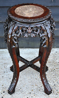 Beautifully Carved Late 19th Century Chinese Rosewood Jardinaire Stand/ Table