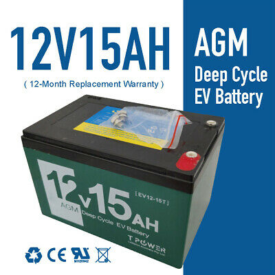 New 12V 15AH AGM Deep Cycle Battery 4 Electric Scooter eBike > 12Ah 6FM15 6DZM15