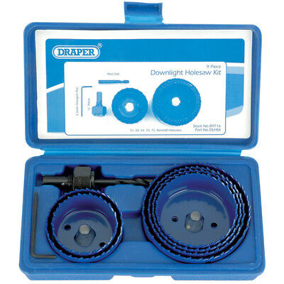 Draper 89716 Holesaw kit for downlights hole cutting set (9 piece)
