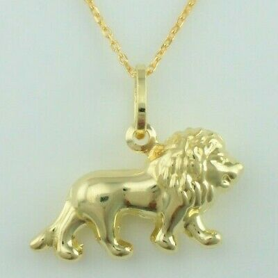 "9ct Yellow Gold Lion Leo Zodiac Charm Pendant Necklace 16"",18"",20"" Chain"