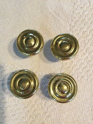 Lot of 4 Heavy Solid Brass Circle Cabinet Drawer Pulls Knobs