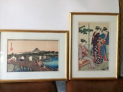 Japanese Prints x 2 - Woodblock reproductions - Framed