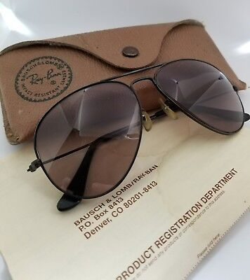 Vintage Mens Ray-Ban Aviator Sunglasses Original Case and Papers