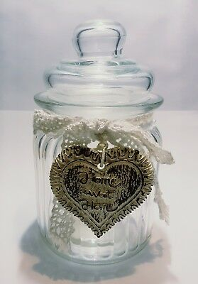 Vintage Art Apothecary Glass Candy Jar Beautiful Decorate Era Clear Glass Rare