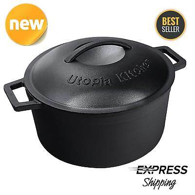 5 Qt Cast Iron Dutch Oven Pre-Seasoned Pot Lid Kitchen Cookware Utopia New Gift
