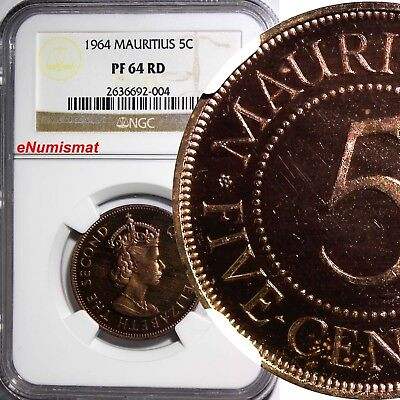 MAURITIUS Elizabeth II Bronze PROOF 1964 5 Cents NGC PF64 RD TOP GRADED RED KM34