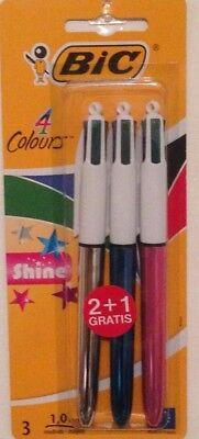 BIC 4 Multi Colour Shine Ball Point Pen   Silver Blue Pink 3 Pack Writing Gift