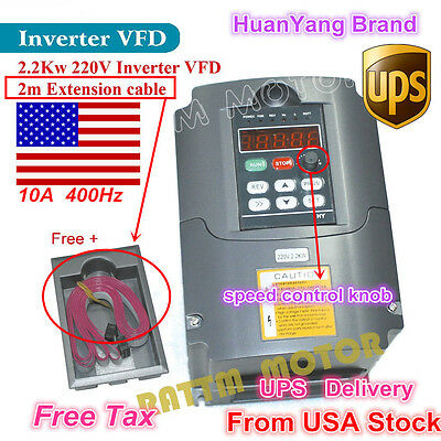 【US】 220V 2.2KW CNC Motor Speed Control Variable Frequency Drive VFD Inverter