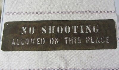 """Antique Brass Stencil for Property Signs """"No Shooting"""""""