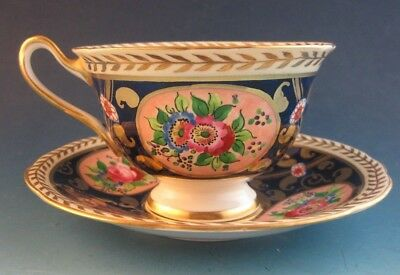 Swansea China Cup & Saucer Cobalt & Gold w/ Pink Floral 4372 Reproduction
