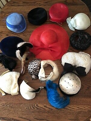 NICE Lot Of 18 VINTAGE LADIES HATS, FEATHER HEAD BANDS, ETC