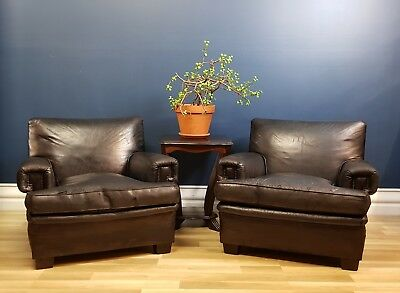 Rare Black Art Deco Pair of Vintage Worn Leather Club Armchairs