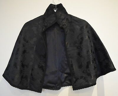 Dark Angel Victorian style black Cape Goth Theatre Burlesque Prom Party Formal