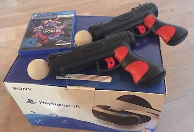 Sony PlayStation VR Headset + 2 Move Controller + 2 Gun Adapter + VR Worlds Game