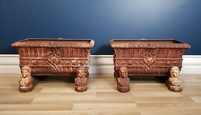 Original Pair of Victorian Antique Cast Iron Planters on Stands Circa 1880