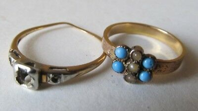 Lot of 2 Antique Victorian 10K 14K GOLD RINGS Turquoise 2.1 Grams SIZE 3 1/2 6