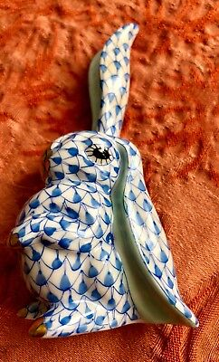 HEREND Standing Blue RABBIT with One Ear Up: MINT CONDITION