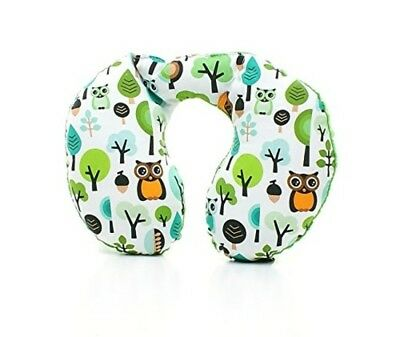 Milutka baby NECK pillow head support for baby car/stroller MINKY Owls GREEN