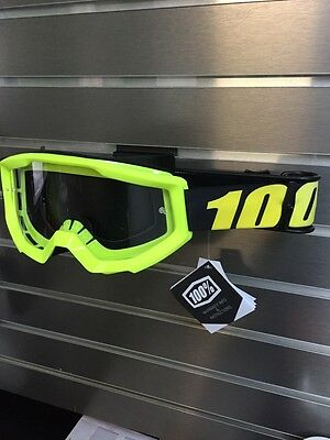 100% Motocross Offroad Strata MX Goggles Neon Yellow / Clear Lens 50400-004-02