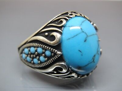 Turkish Handmade Jewelry 925 Sterling Silver Turquoise Stone Men's Ring Sz 10,5