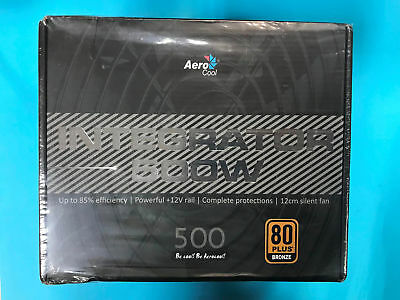 AeroCool Integrator 500W 85+ PC Gaming Power Supply 120mm Fan Active PFC PSU