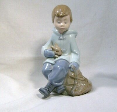LLADRO/NAO Cute little Boy on his travels with his Bunny Rabbit