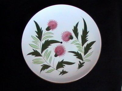 Stangl Pottery Pink Thistle Tidbit Tray Platter Brown/Green (no handle)