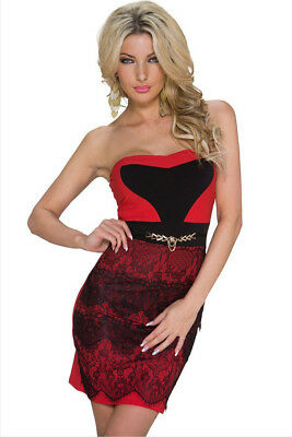 "WOMEN - Size ""M"", ""L"" Ladies Red Lace Embellished Cocktail Mini Dress"