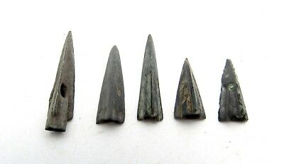 Lot Of 5 Ancient Scythian Bronze Arrow Heads - Ancient Historical Artifacts B425