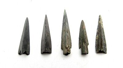 Lot Of 5 Ancient Scythian Bronze Arrow Heads - Ancient Historical Artifacts B426