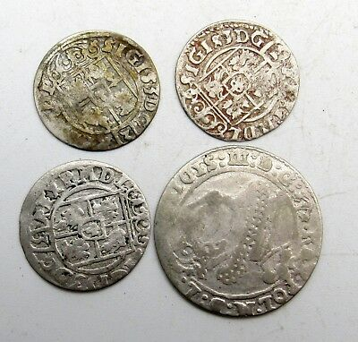 Lot Of 4 Medieval Silver Hammered Coins - Ancient Artifact Superb Rare - B428