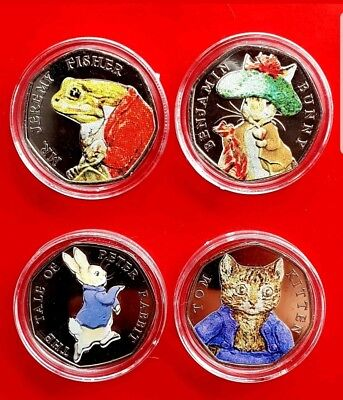 Beatrix Potter 50p Coins Uncirculated Coloured Set Including Jemima Peter Rabbit