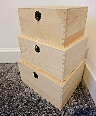 Set of 3 wooden nesting boxes beautifully made with vintage style  metal clasps
