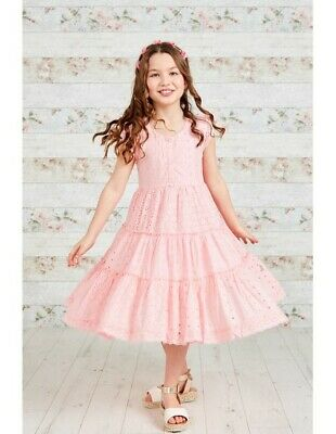 Domino Girls 100% cotton Pink & White Chambray Lace Trim Flare Party Dress 3-11y