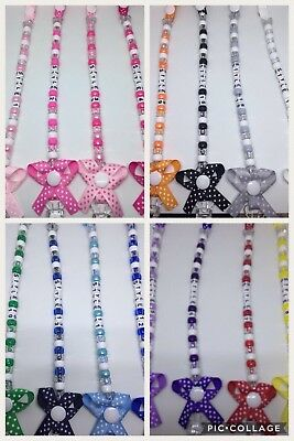 ❤️ Bow Dummy CIip Clips Strap❤️ Baby Gift Plastic CIip...Any Name..No Metal❤️.