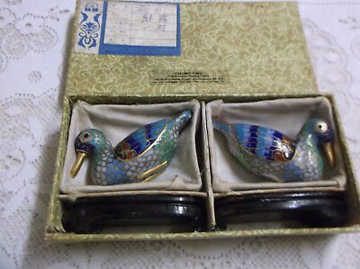 Pair of Antique/Vintage Cloisonne ducks with stands