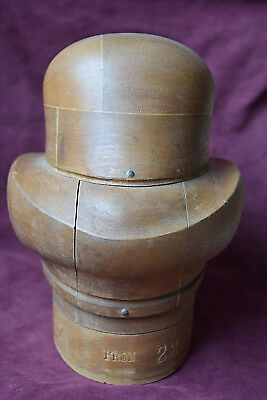 Authentic Antique Vintage Millinery Empire NY Wood Hat Block Form Mold Tool EUC
