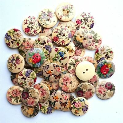 50pcs Mixed Wood 50Pcs Scrapbook Resin Color Sewing Round Buttons 2Holes