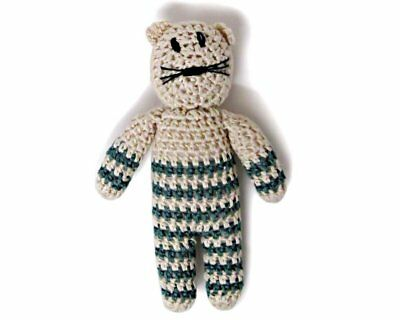 Estella Organic Kitty Rattle In Green Baby Toy Hand Knit Cotton
