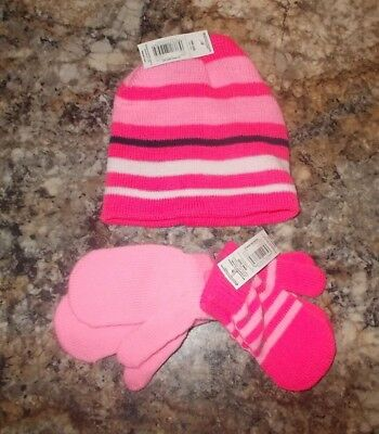 Toddler Girls One Size PInk Stretchy Beanie Hat & 2-Pack Mittens NEW